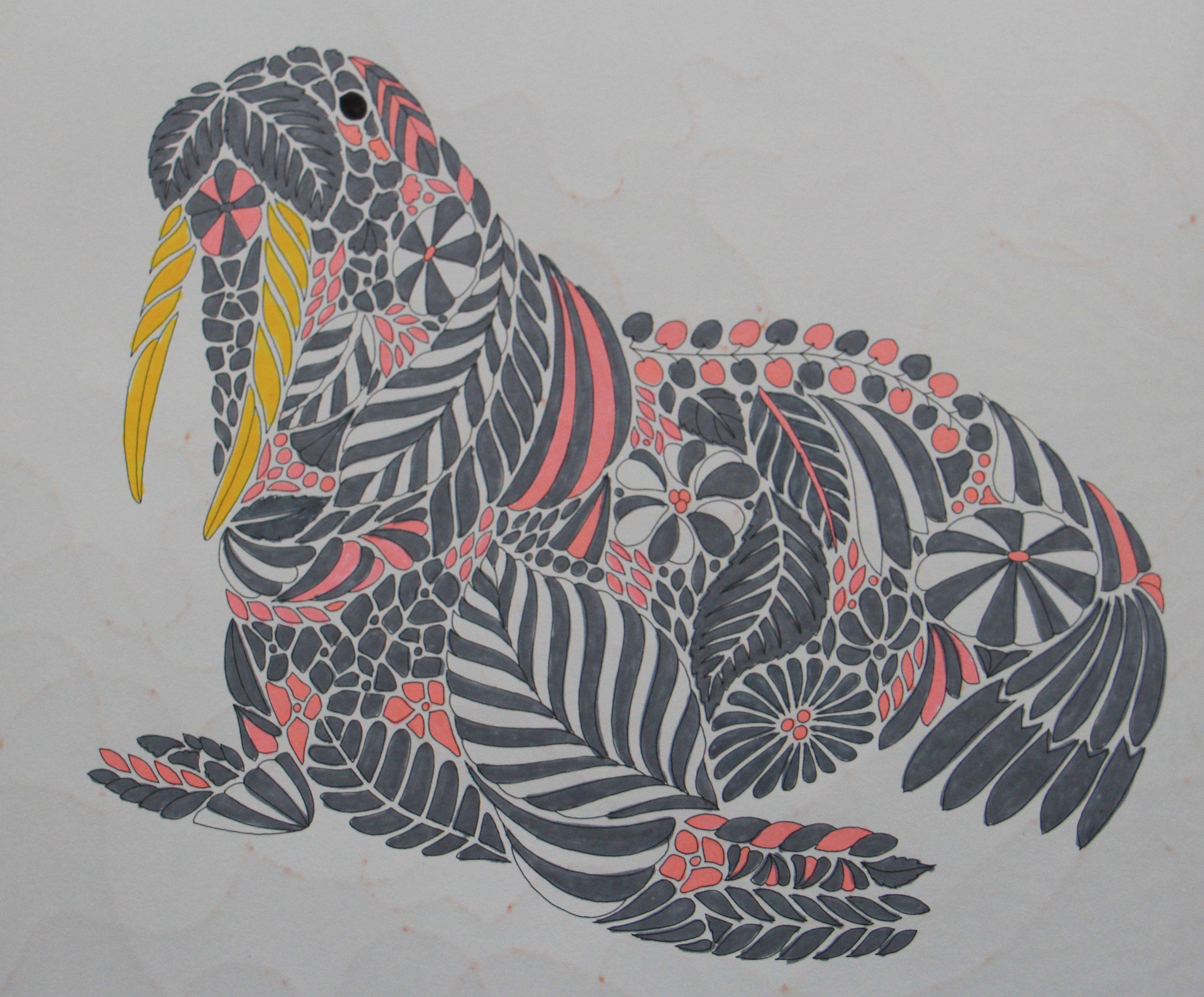 Walrus Millie Marotta Millie Marotta Coloring Book Curious Creatures [ 2877 x 3473 Pixel ]