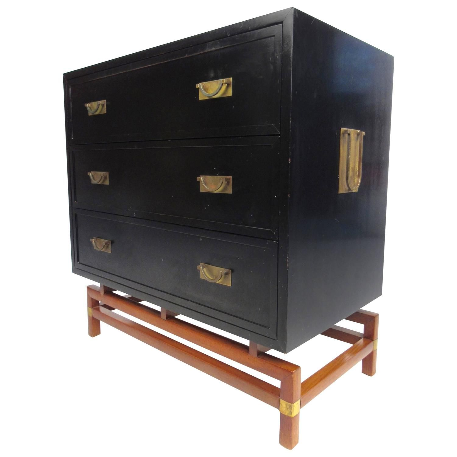 Mid Century Modern Campaign Style Chest Of Drawers By J B Van Sciver Co Unique Storage Drawers Mid Century Modern