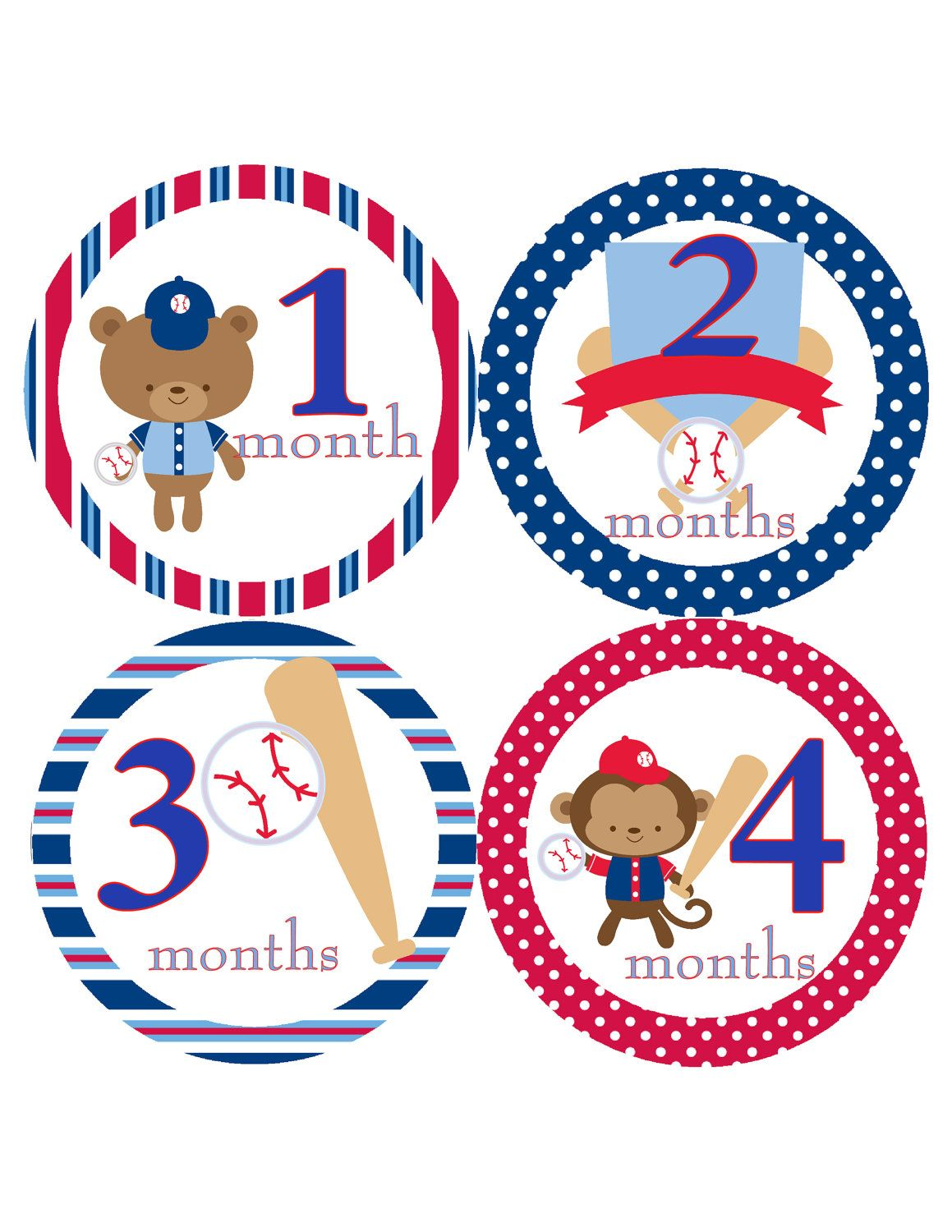 Monthly Onesie Stickers Baby Boys Baseball Bat Great for ...