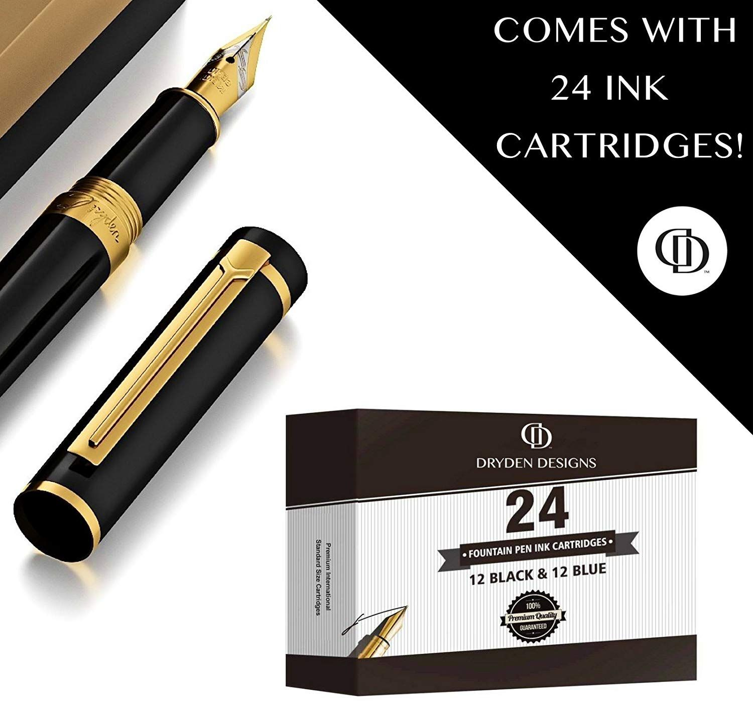 GIFT Standard size BLACK High Quality 100 Fountain Pen Ink Cartridges