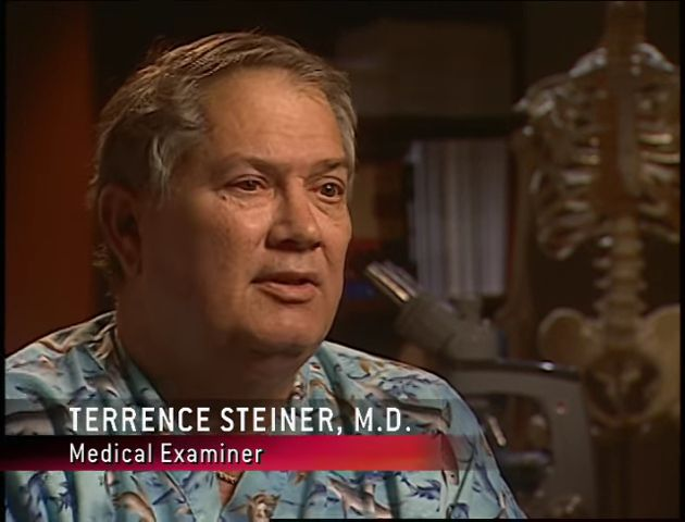 Terrence Steiner, M.D., medical examiner   Forensic Files: As the Tide Turns (TV episode 2007)   Tags: #screencaps, forensic science, forensic evidence, murder, Justin Barber, April Barber