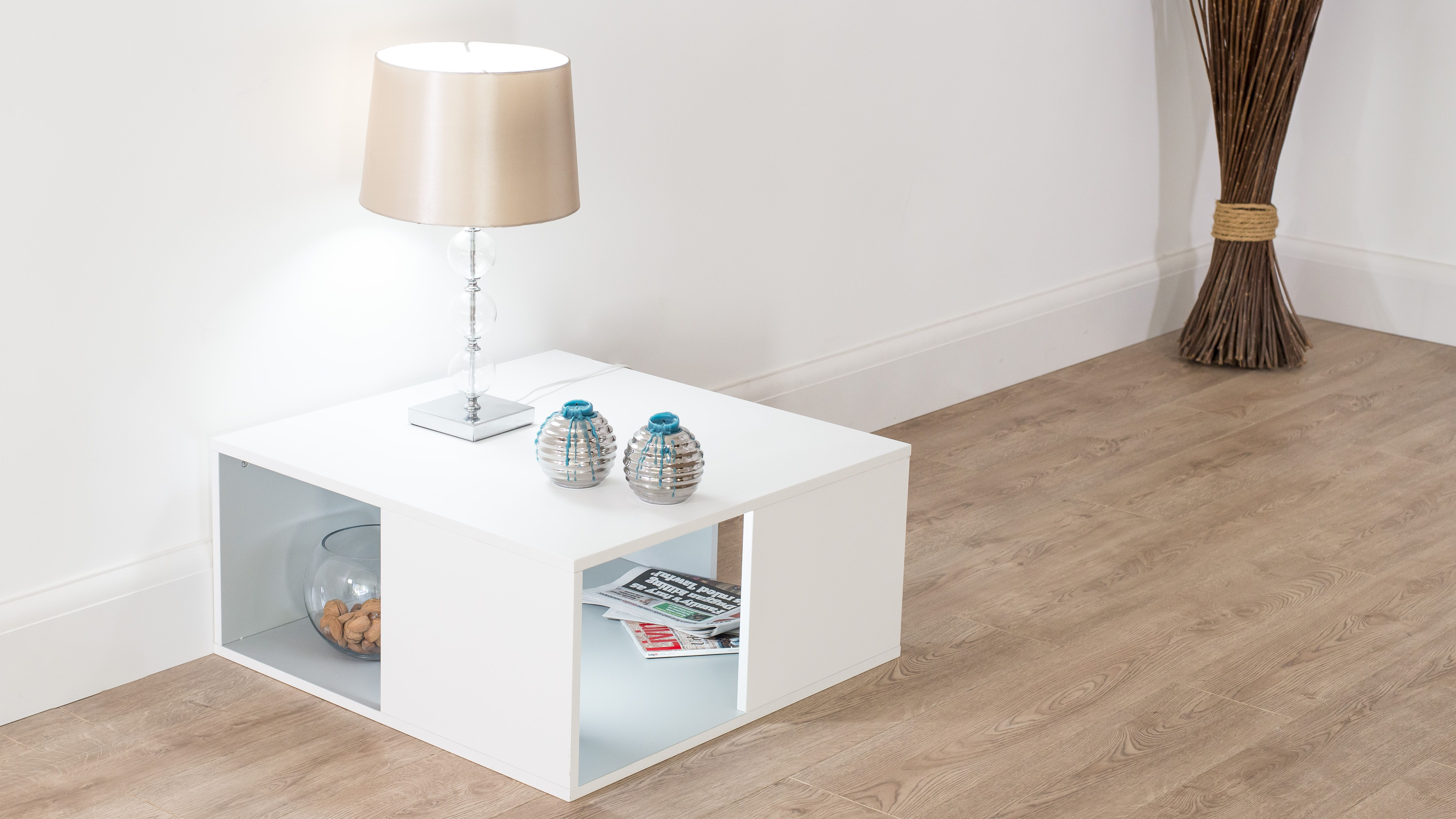The Emilia White Oak Small Coffee Table is handy to use as a side or