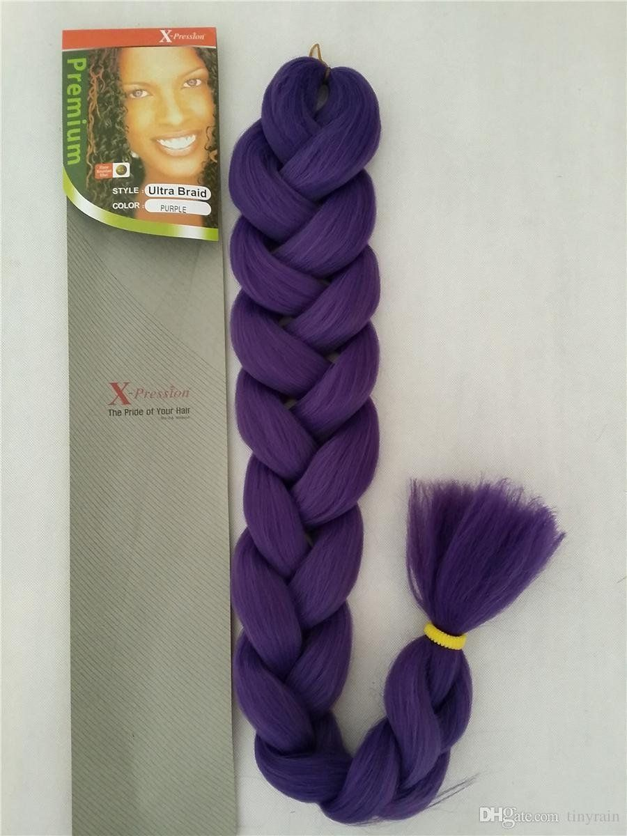Premium X Pression Ultra Braid 82 Synthetic Braiding Hair Expression Xpression Purple This Is An Amazon Af Braided Hairstyles Xpression Hair Purple Braids