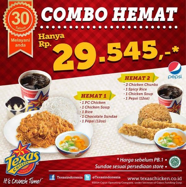 Harga Paket Combo Hemat Texas Chicken Food Design Makanan Resep Masakan