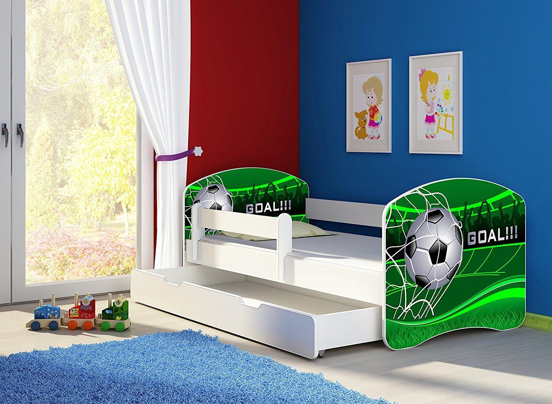 Fussballzimmer Fussball Bett Kinderbett Komplett Set 140 X 70 Cm Inkl Matratze Lattenrost Und Bettkasten Unter Kinder Bett Kinderbett Coole Kinderbetten