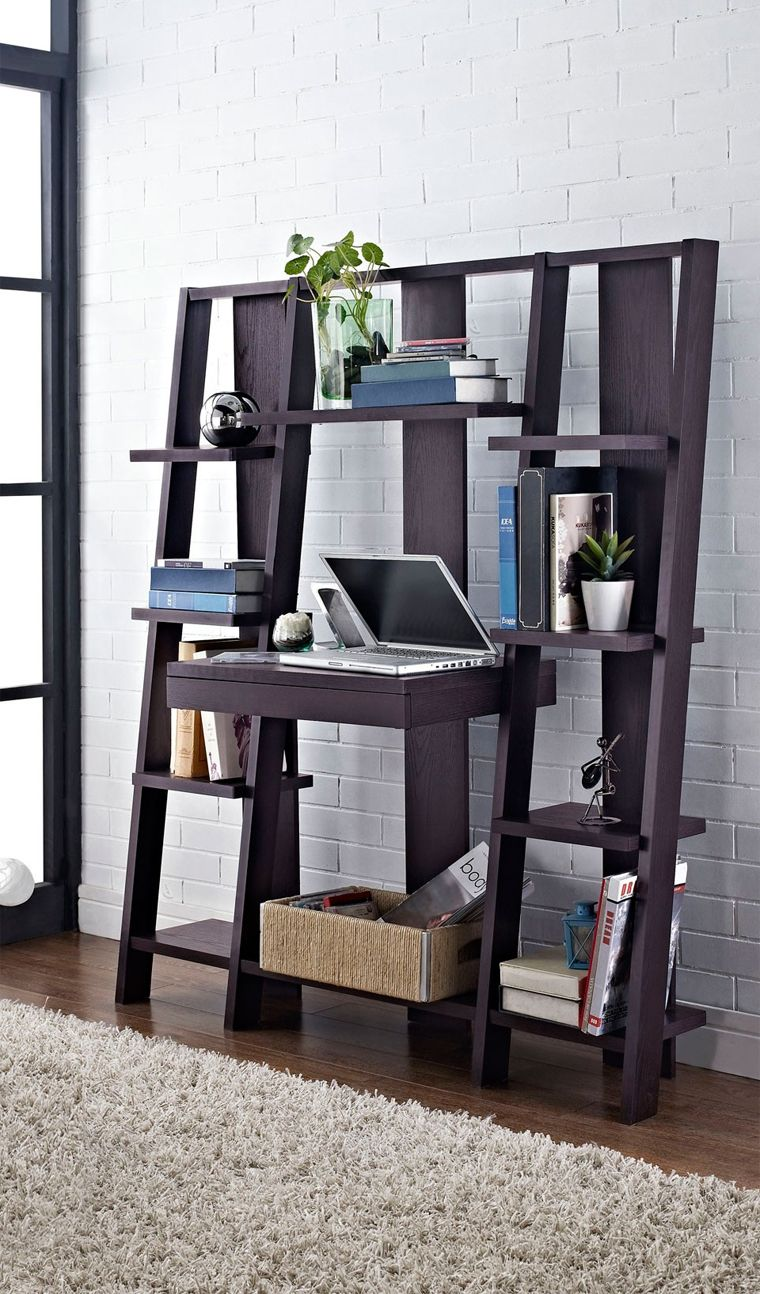 office desk with bookshelf. Ladder Bookcase With Desk // Combines A Desk, Pull-out Drawer And Storage Office Bookshelf