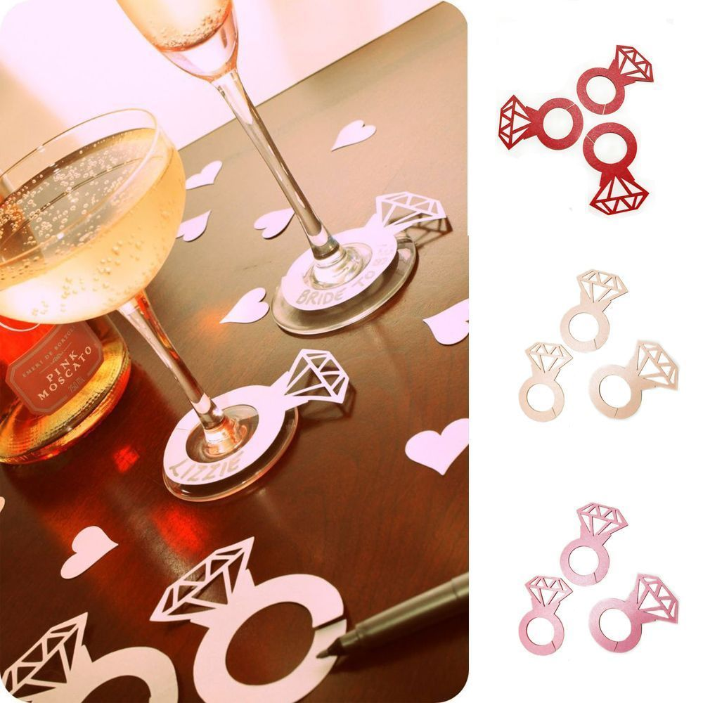 Shower Bachelorette Party Glass Markers Name Tags Wine Tags Wine Cup Card