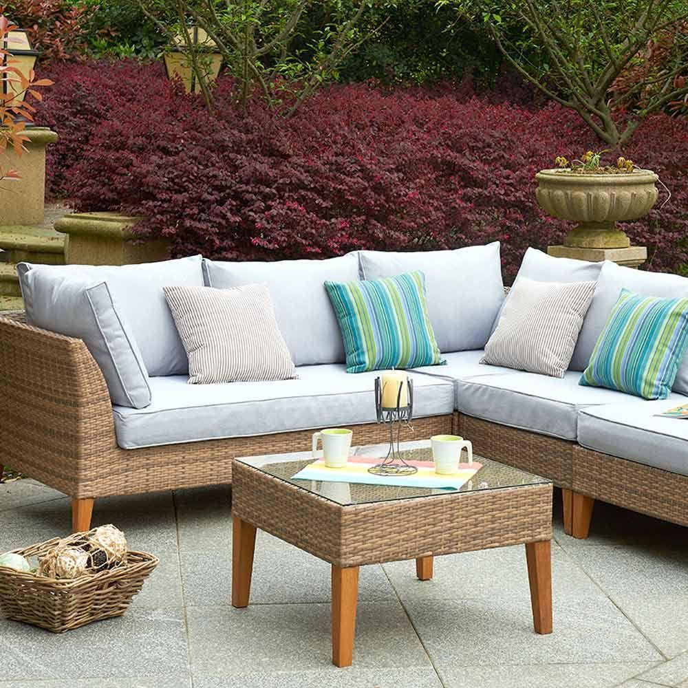 Cool Buy Luxo Bayley Pe Wicker Outdoor Sofa Setting With Teak Home Remodeling Inspirations Genioncuboardxyz