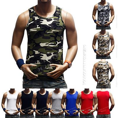 3152bf383904f3 Men s Tank Top Sleeveless T-Shirt Muscle Camouflage Tee A-Shirt GYM  Bodybuilding