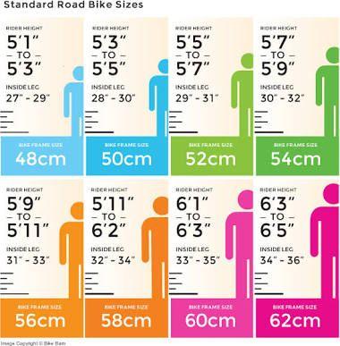 road bike size chart - Google Search | Cycling | Pinterest