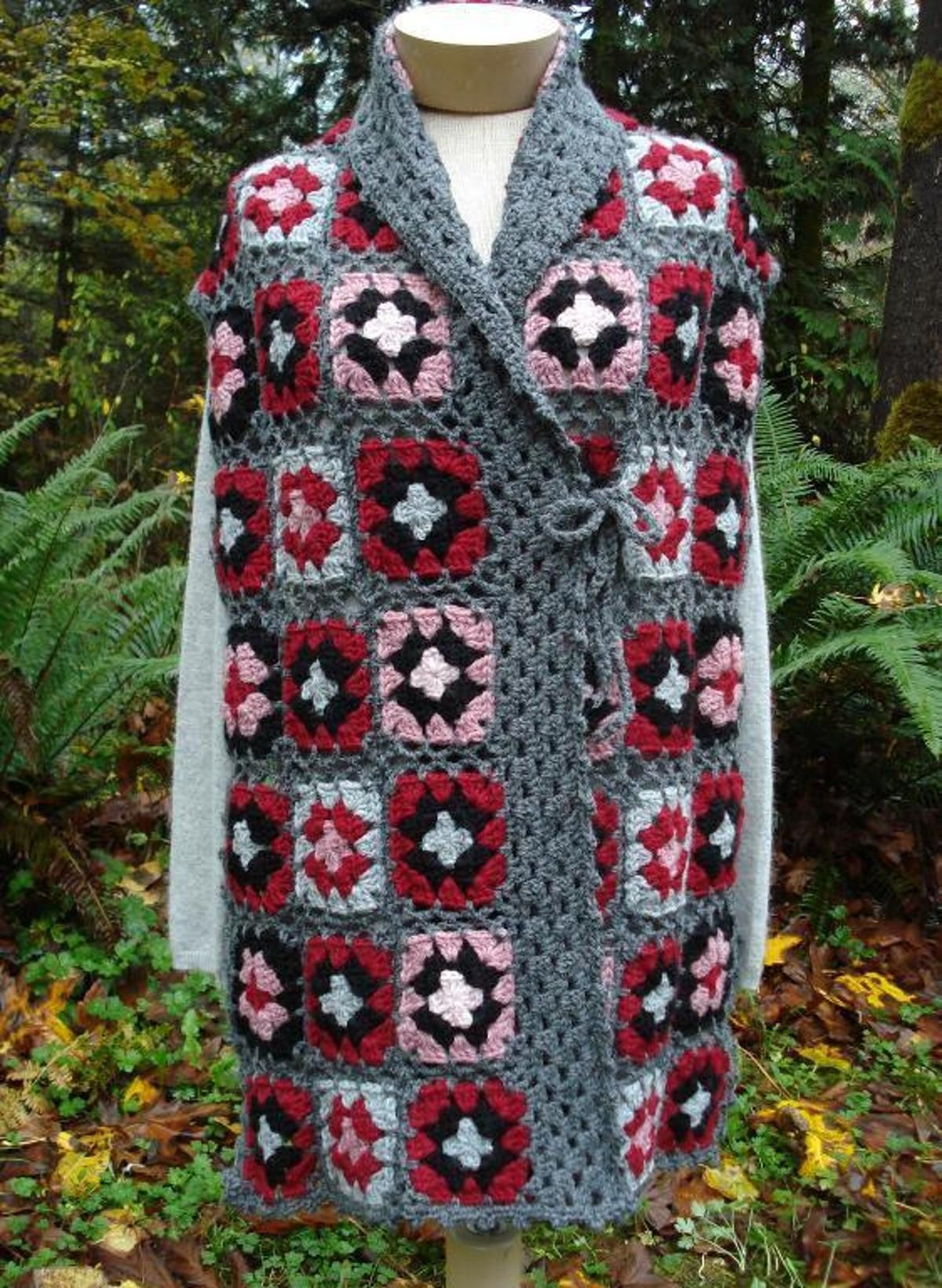 Shawl Collar Granny Square Wrap Pw 104 A Crochet Pattern From