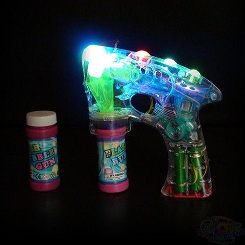 Bubble Ray Gun Fun Light Up Flashing LED Bubble Machine Kids Outdoor Garden Toy