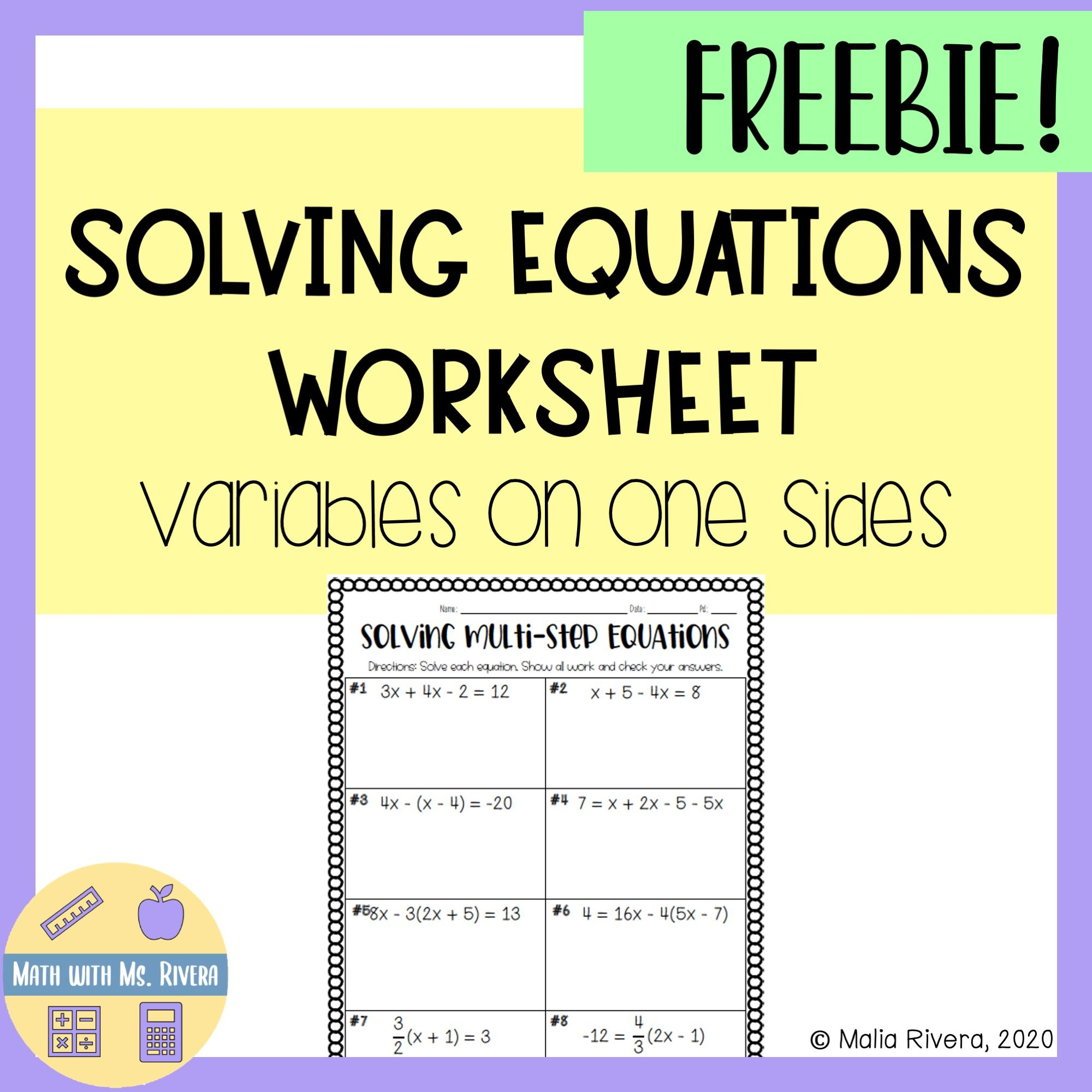 Solving Multistep Equations With Variables On One Side Worksheet Freebie Solving Multi Step Equations Multi Step Equations Two Step Equations