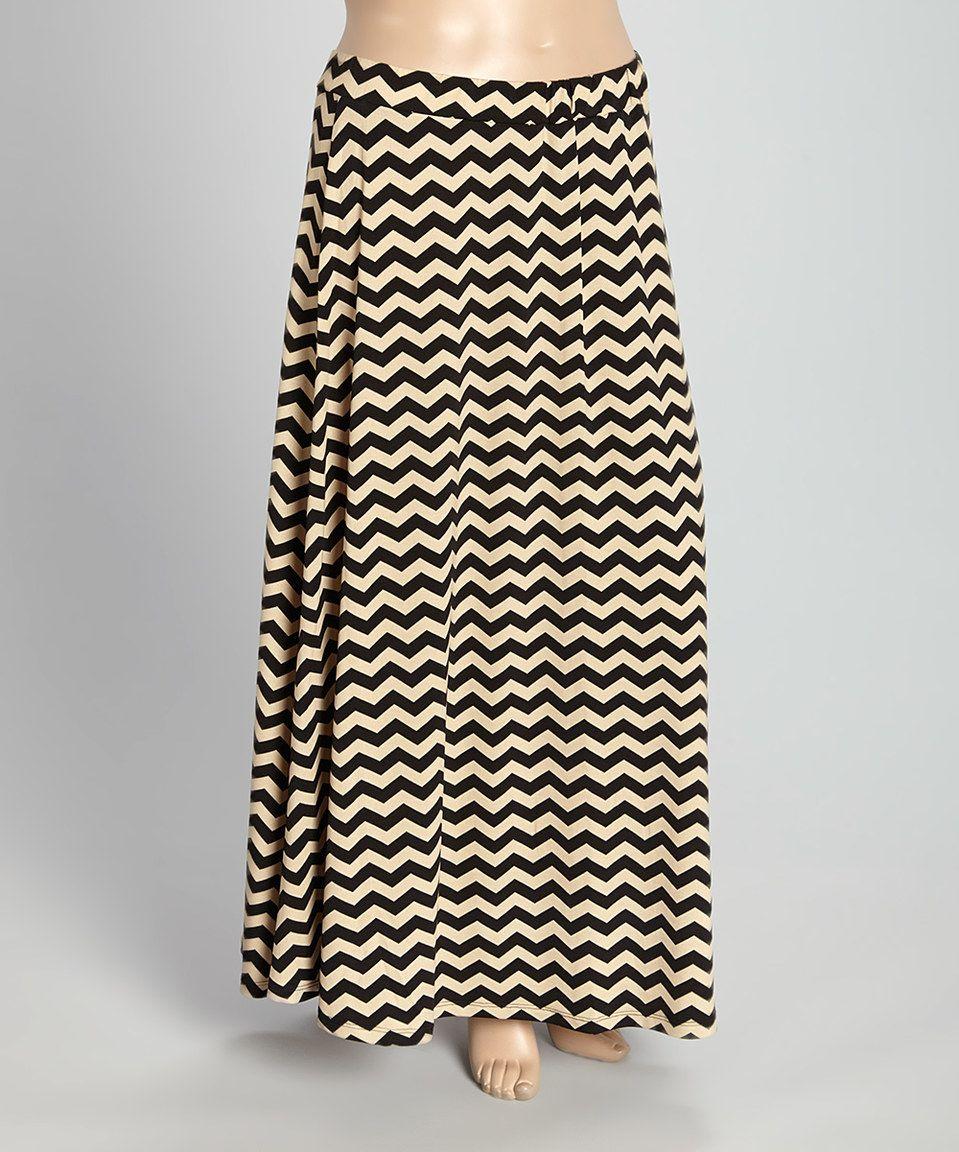7f62fcdfa04 Allie   Rob Black   Ivory Chevron Maxi Skirt - Plus by Allie   Rob ...
