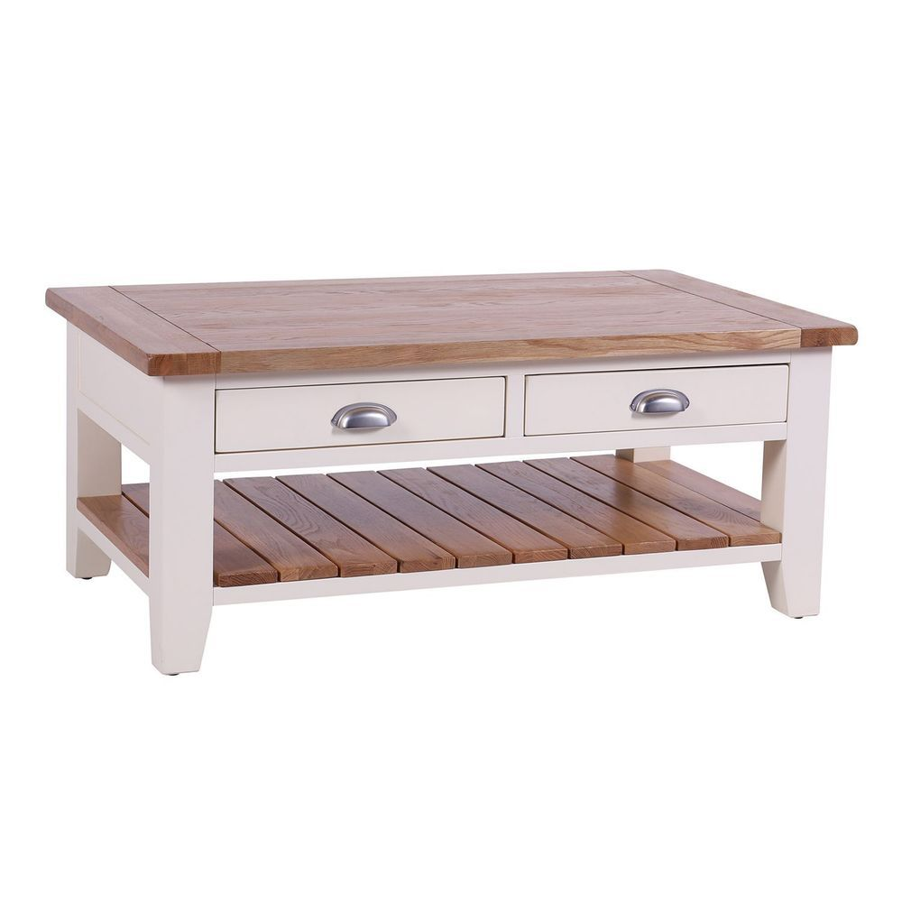 Rectangular Coffee Table 2 Drawer Shelf Cream Color Wooden Living