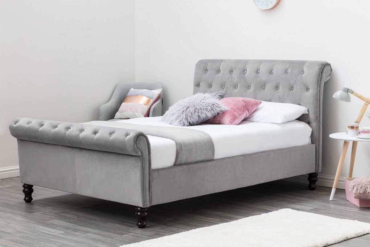 Best Lambeth Grey Velvet Upholstered Chesterfield Sleigh Bed 400 x 300