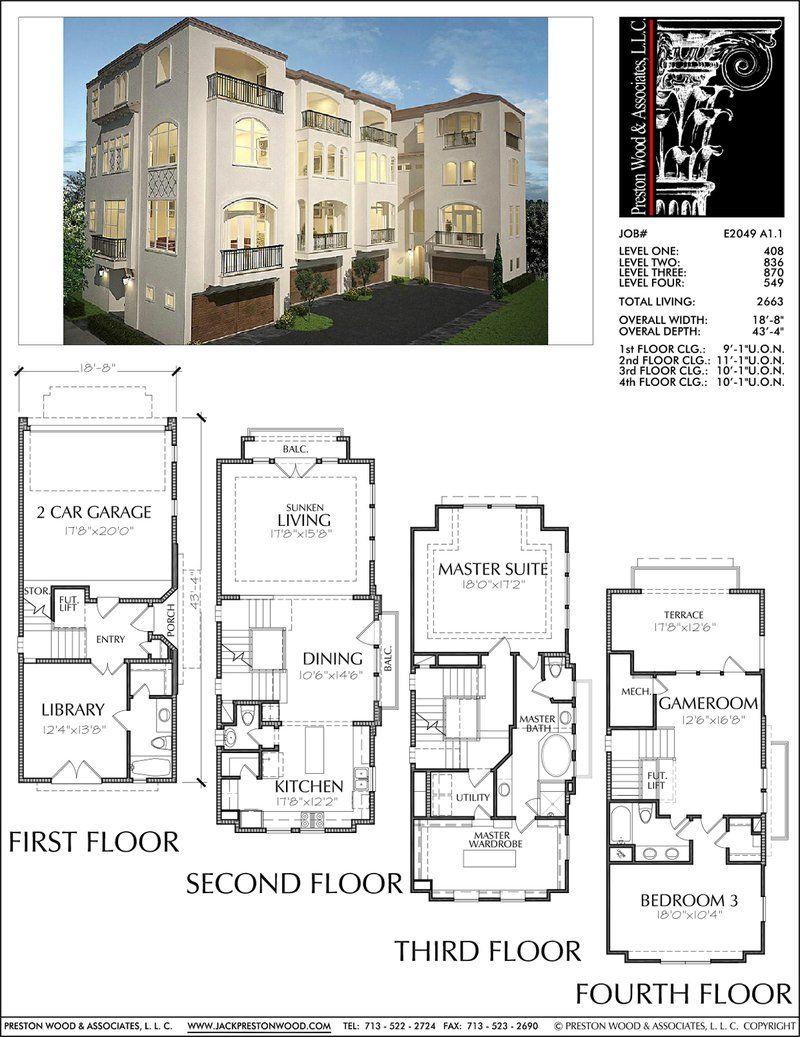 Four Story Townhouse Plan E2049 A1 1 Condo Floor Plans Narrow Lot House Plans Row House