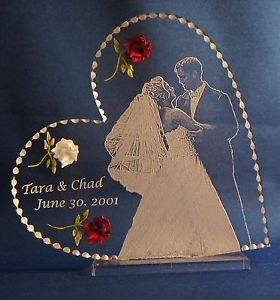Awesome Photo Etched Wedding Cake Topper Clear Glass Like Acrylic Engraved/shipped  Free Great Ideas