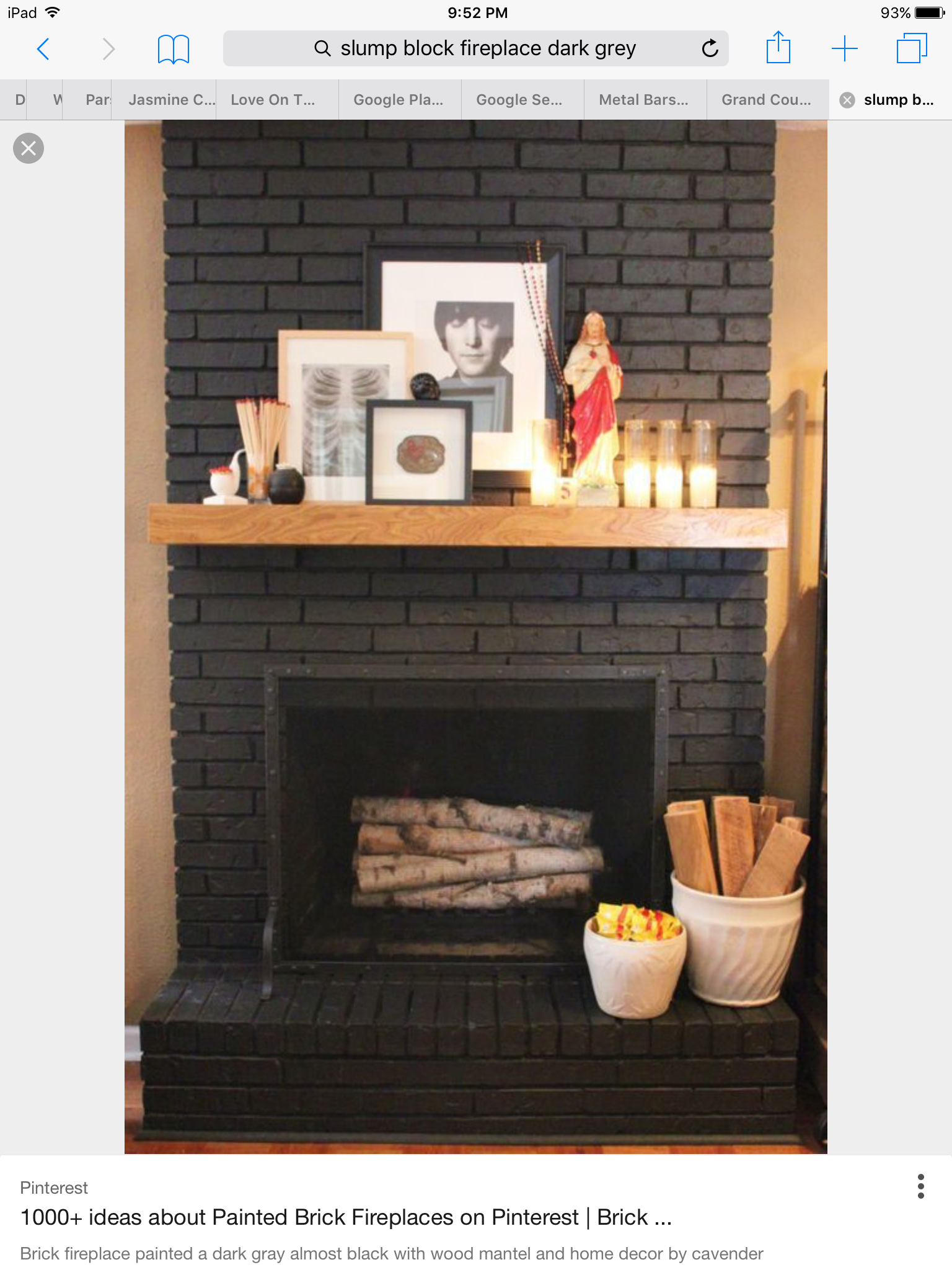 Grey Slump Block Fireplace Painted Brick Fireplaces