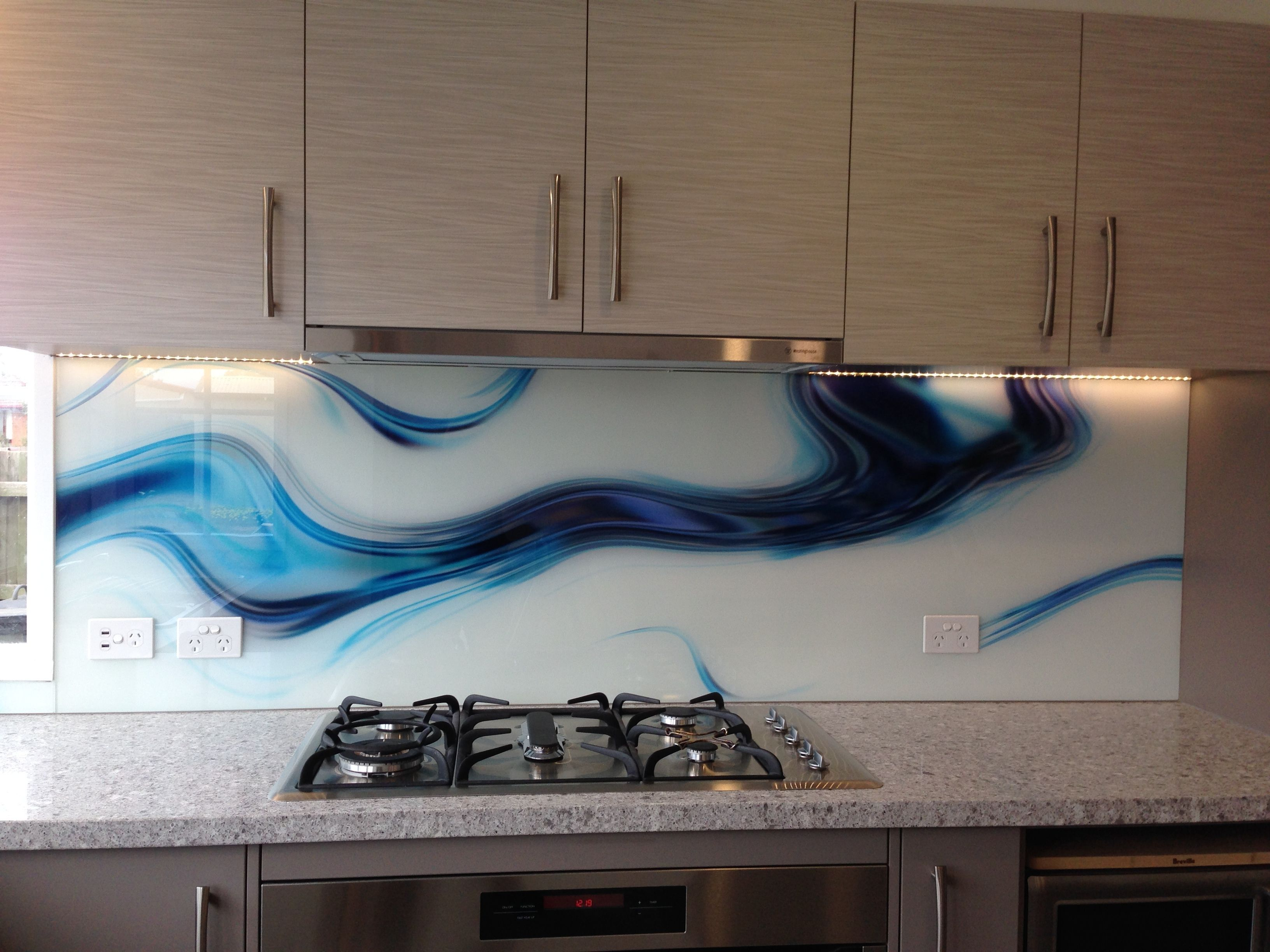 Printed kitchen glass splash back. The energy of our designs come ...