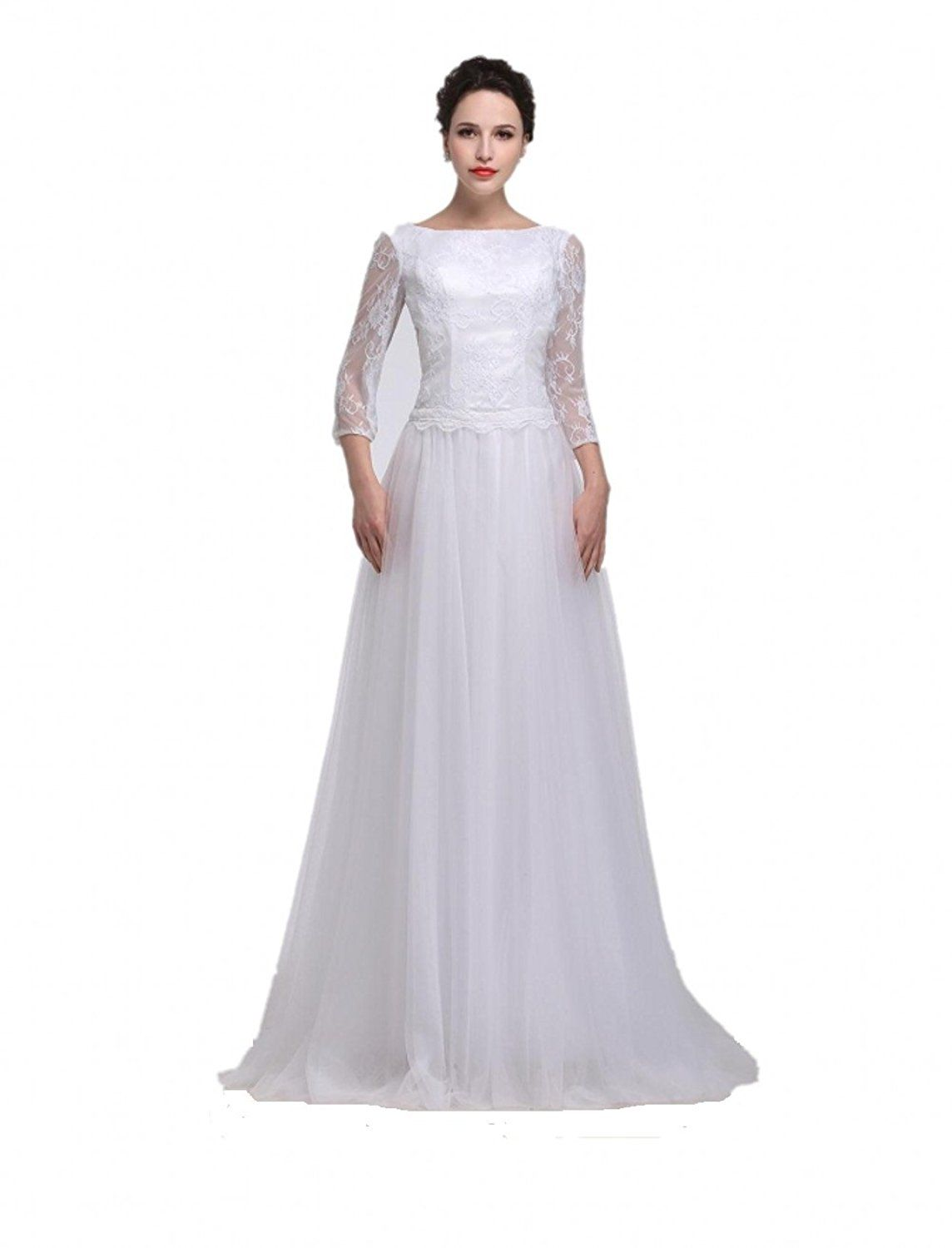 Setwell Womens Organza Satin Boat Neck A Line Wedding Dress More
