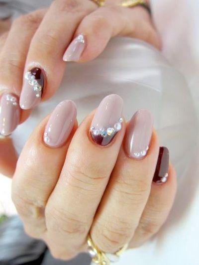 Nail art gallery grey and maroon nail design with gem accents nail art gallery grey and maroon nail design with gem accents prinsesfo Images
