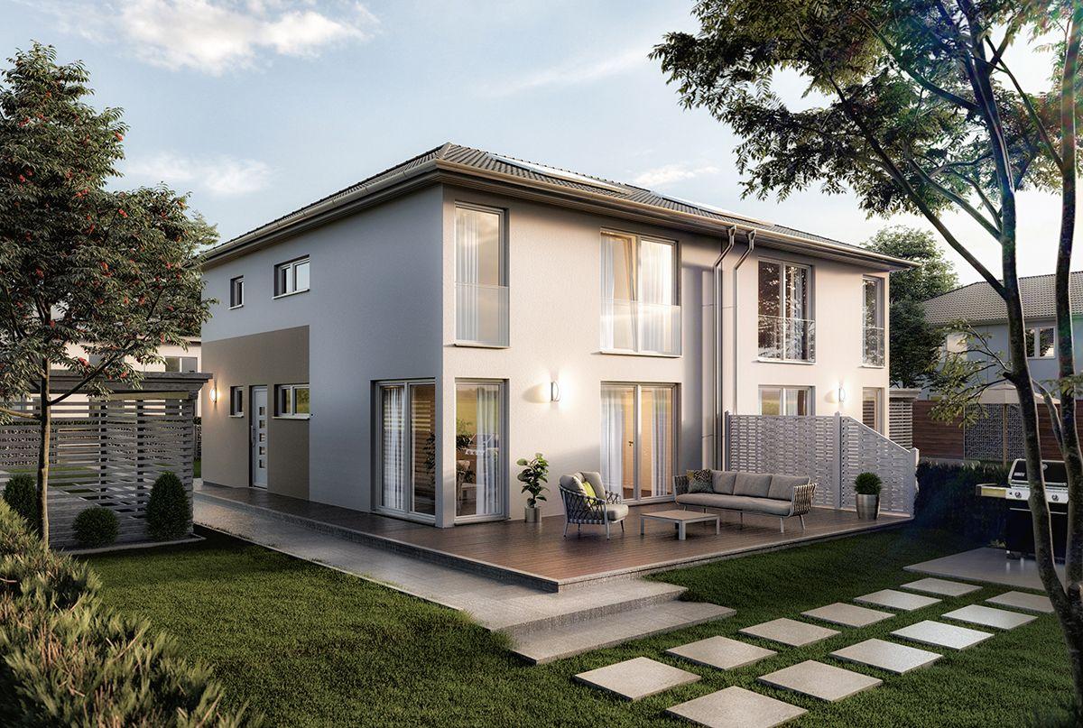 Unser Neues Massivhaus Das Doppelhaus Aura 136 Das Doppelhaus Aura 136 Wird Fur Viele Bauherren Mit Fami House Projects Architecture Small Villa House Styles