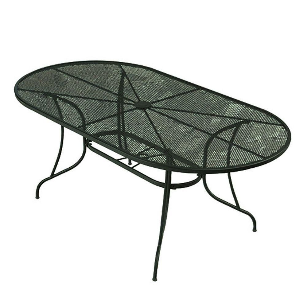 199 Wrought Iron Green Oval Patio Dining Table W3929 3872 Gr