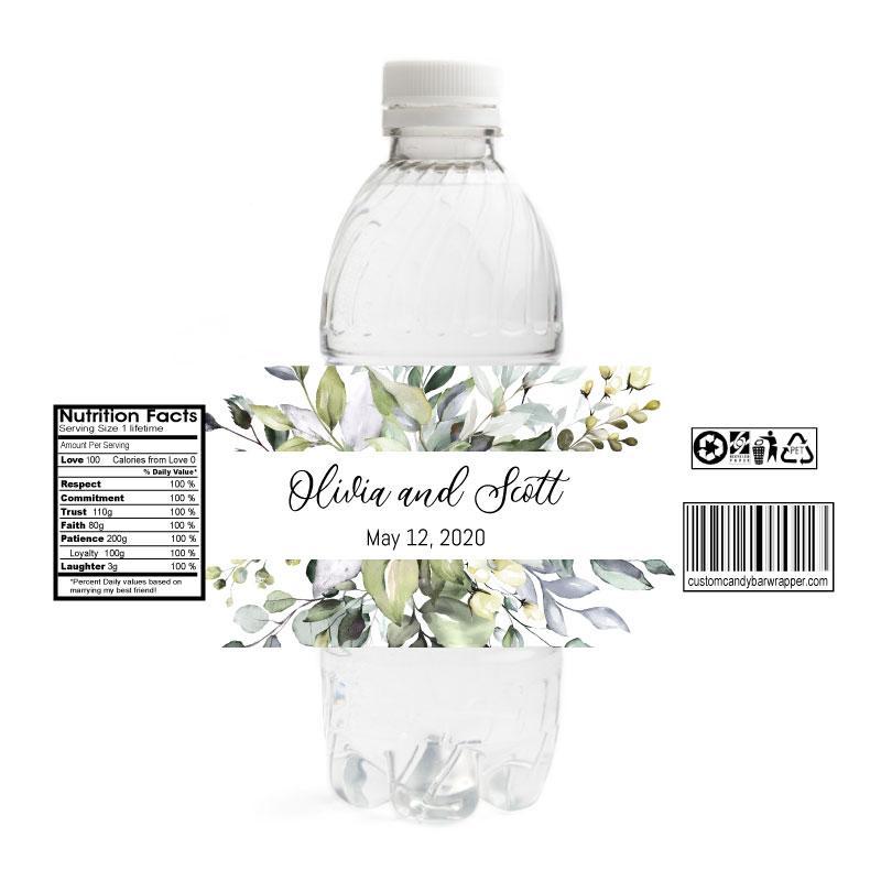 Greenery Wedding Water Bottle Labels In 2020 Water Bottle Labels Wedding Wedding Water Bottles Diy Wedding Water Bottles