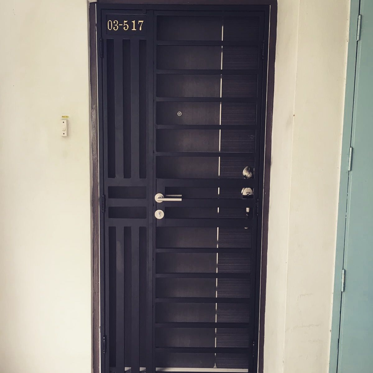 Latest Hdb Mild Steel Gate With Modern Design Yale Fingerprint Gate Lock At 1380 We Have Develope Metal Doors Design Grill Door Design Steel Door Design