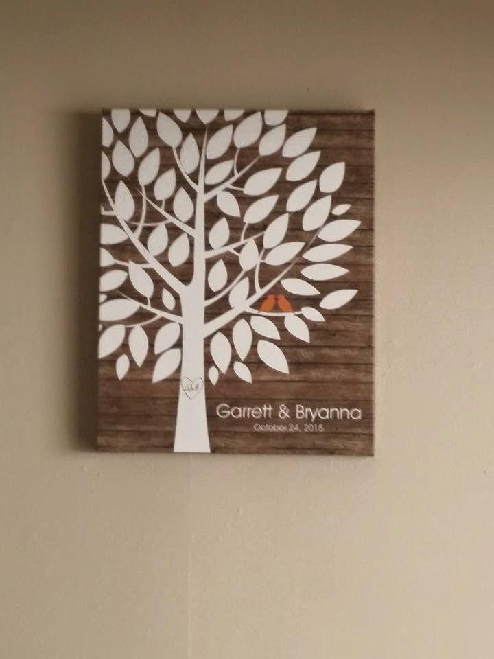 Rustic wood wedding tree canvas guest book alternative