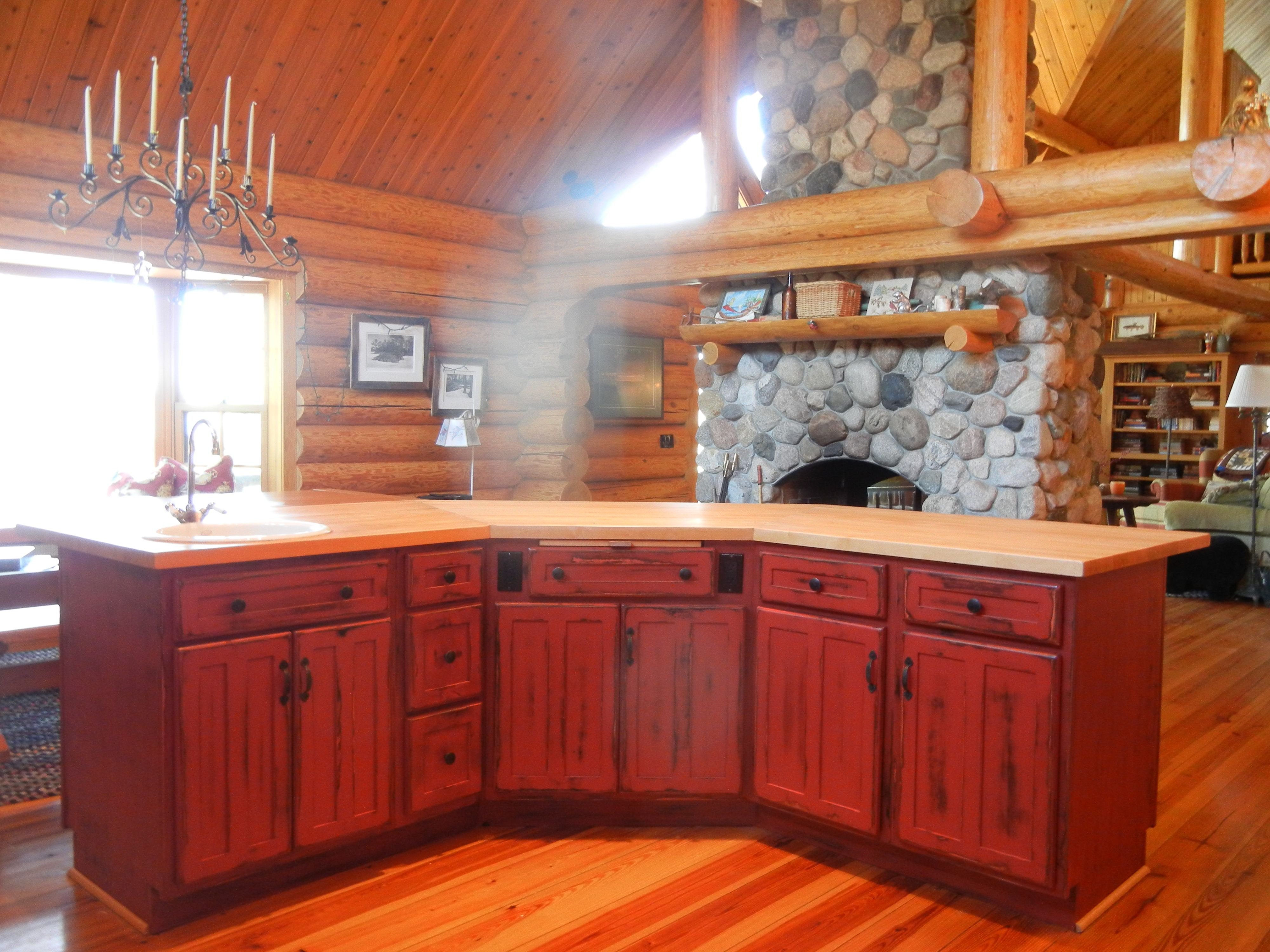 red kitchen  rustic red kitchen cabinets  barebones ely