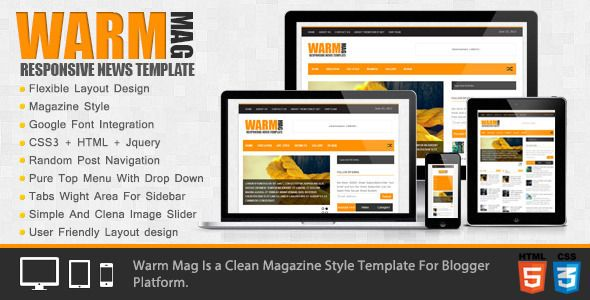 WarmMag - Premium Responsive Blogger Template   User interface and ...