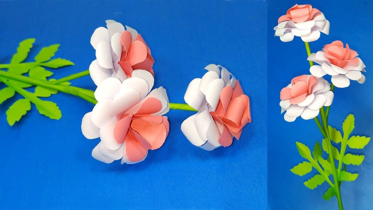 Make Paper Flower Easy Making Paper Stick Flower Step By Step