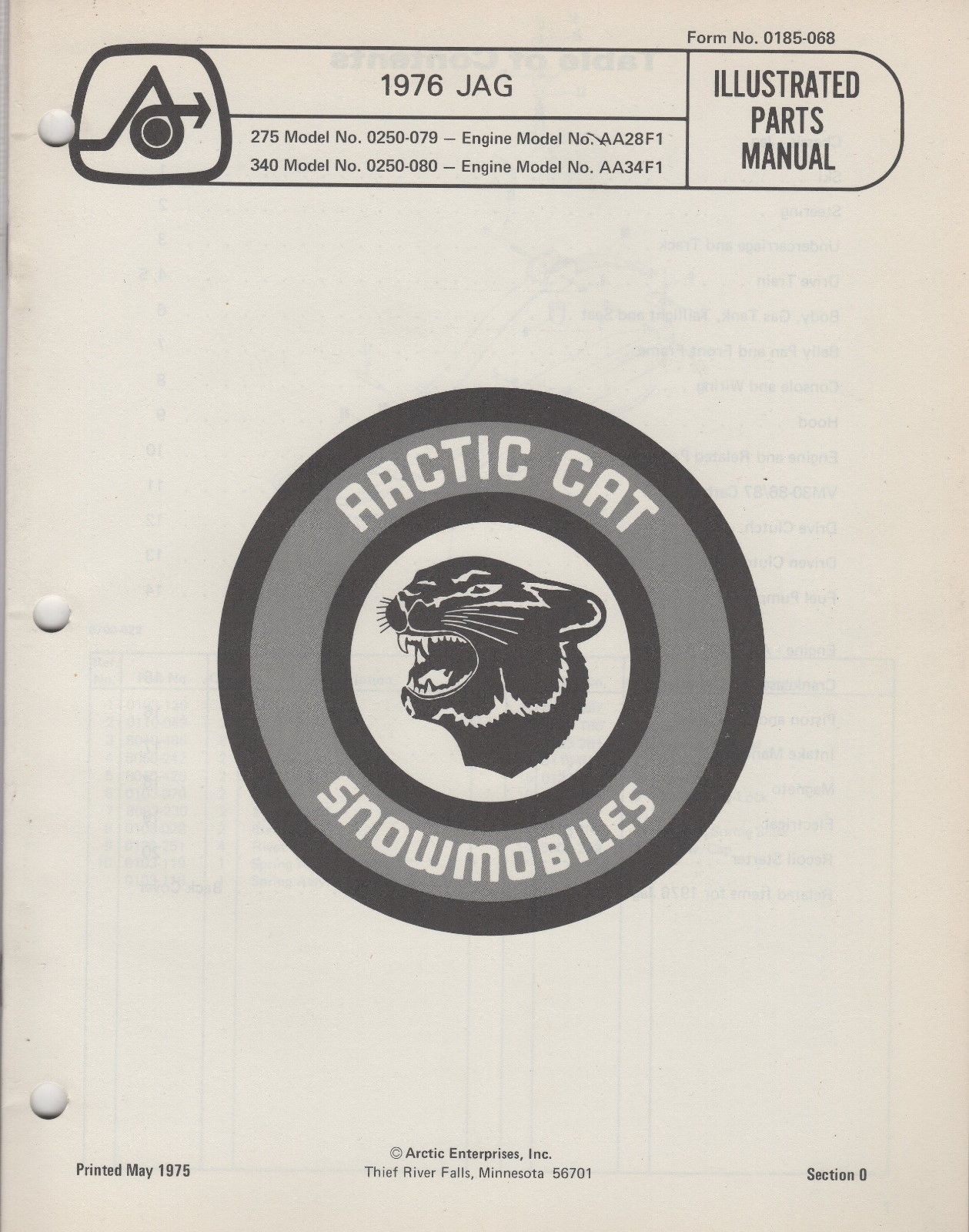 1976 ARCTIC CAT SNOWMOBILE JAG 275 340 P/N 0185-068 PARTS MANUAL (