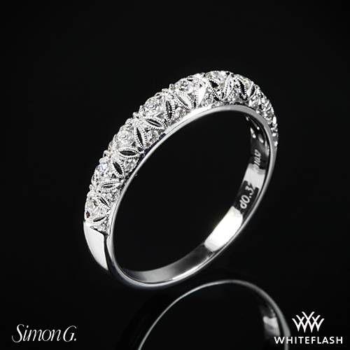 18k White Gold Simon G LP1582 B Duchess Diamond Wedding Ring