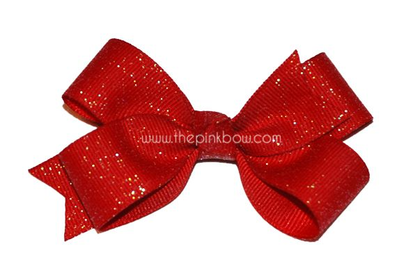 Small Red Glitter Bow  Valentine's Day