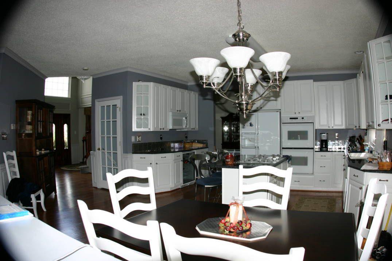 Blue Pearl Granite Backsplash Ideas Part - 39: White Cabinets Blue Counter Kitchen | Tile Backsplash For Blue Pearl Granite  Countertop - Ceramic Tile