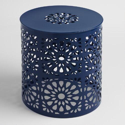 Peacoat Blue Punched Metal Soleil Drum Stool  sc 1 st  Pinterest & Peacoat Blue Punched Metal Soleil Drum Stool | Metal stool Stools ... islam-shia.org