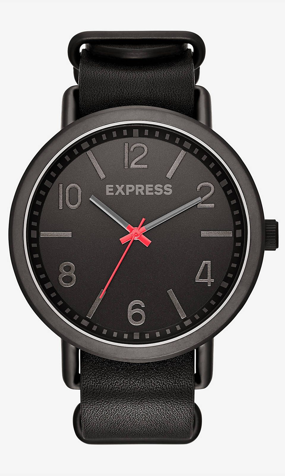 Analog Leather Strap Watch - Black | Express