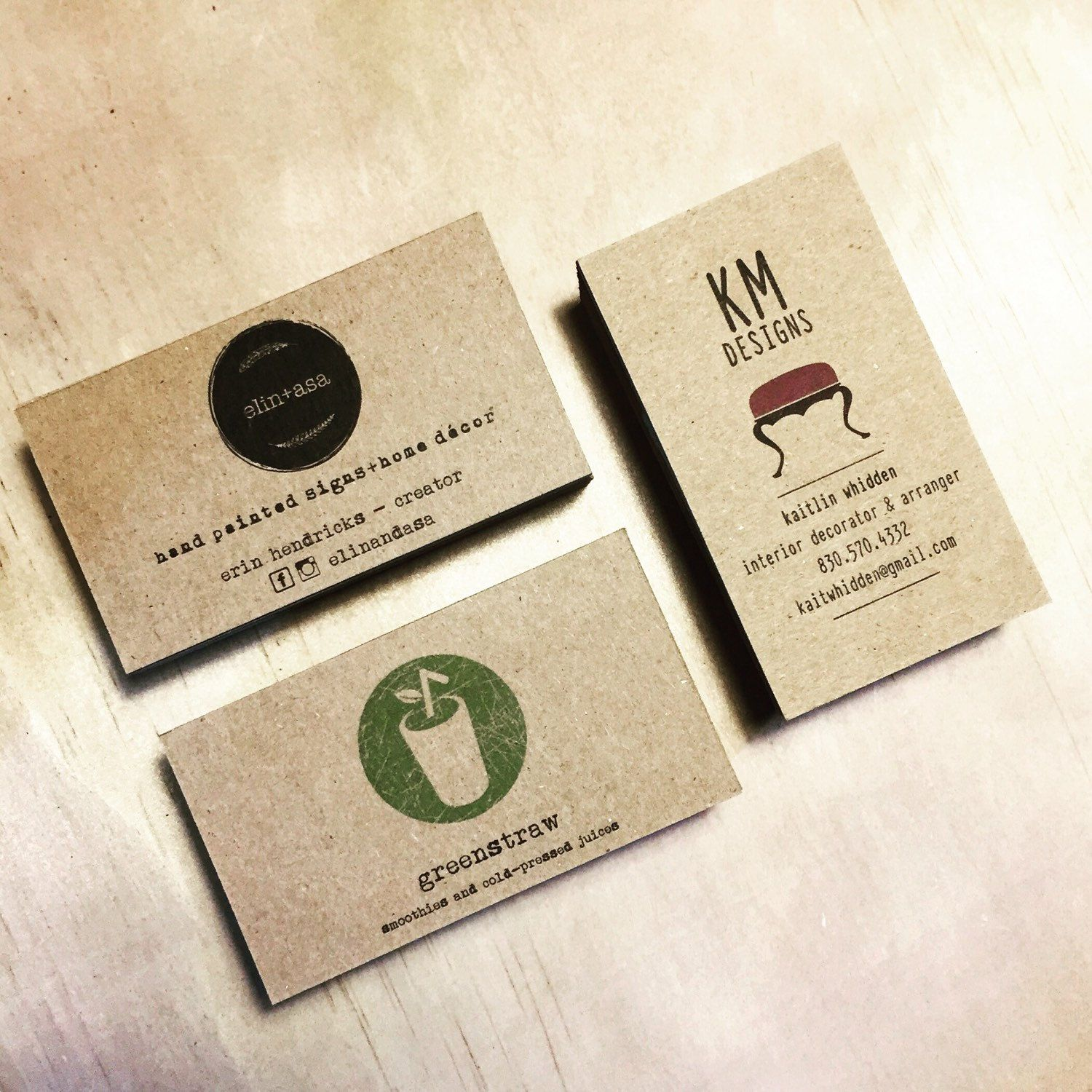 Minimalistic Kraft business cards - Set of 50 - One sided business ...