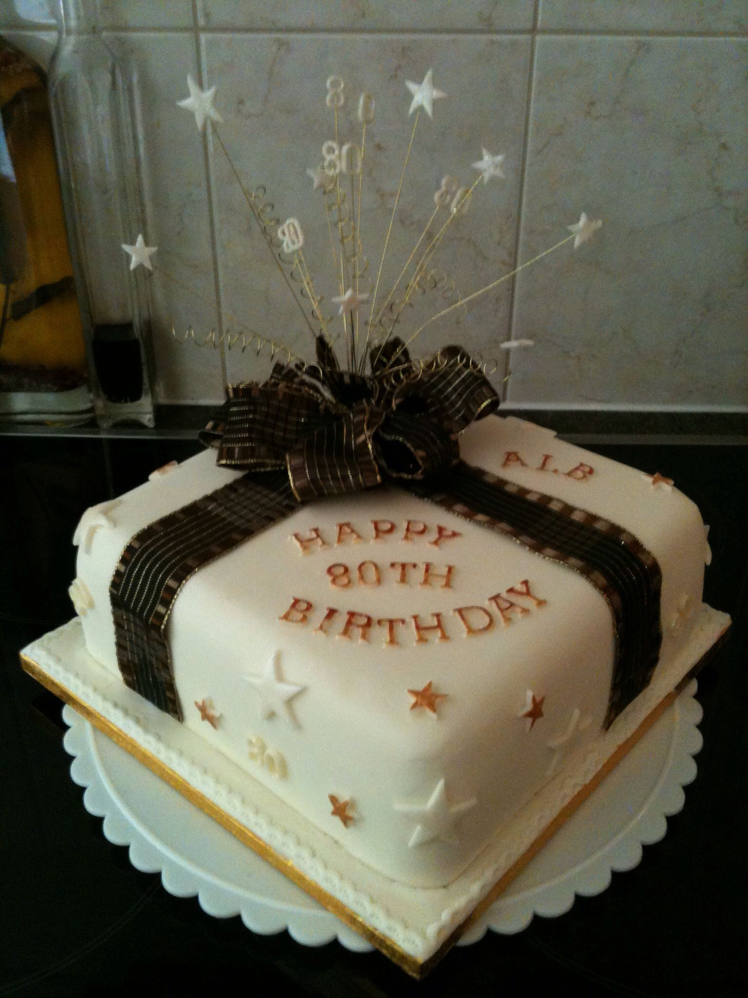 Black And Cream 80th Birthday Cake For Men