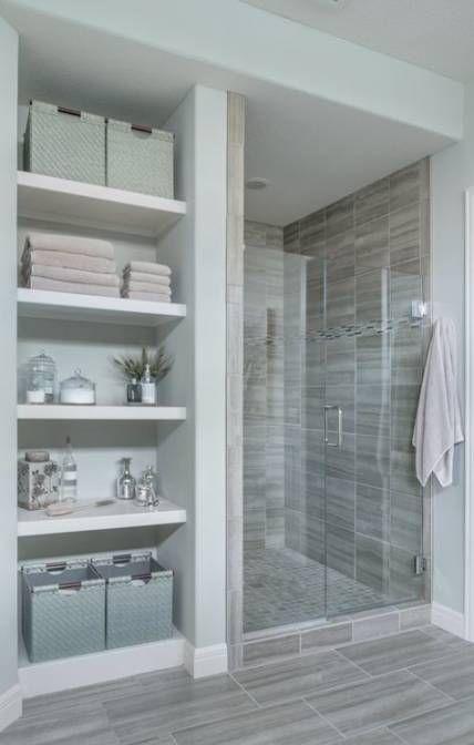 Open Closet Ideas For Small Spaces Built Ins Bathroom Shelves 29 Ideas Basement Bathroom Remodeling Bathroom Remodel Master Bathroom Makeover