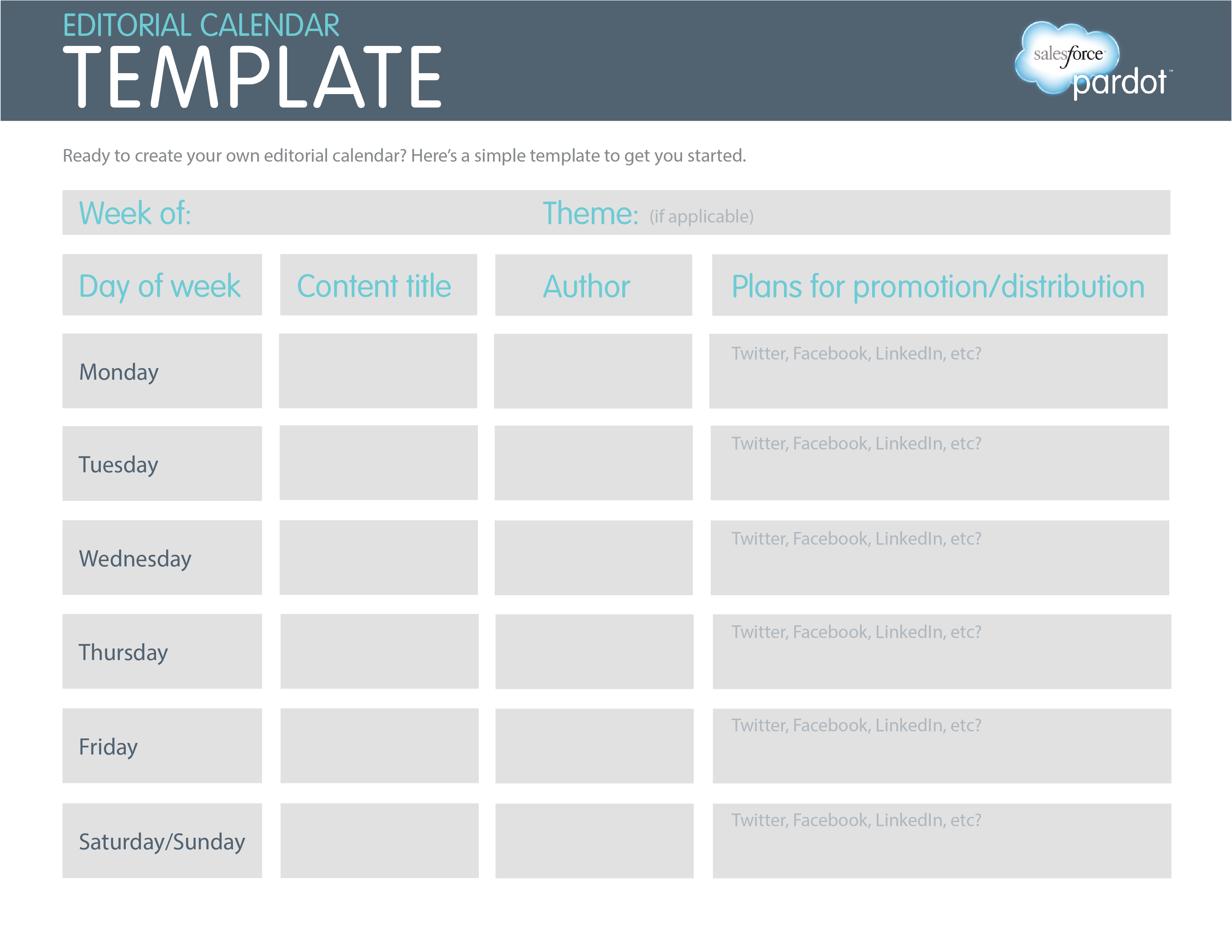 Editorial Calendar  Social MediaBlogging    Template
