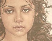 beautiful pale faded light shabby romantic female woman girl face portrait canvas wall  art