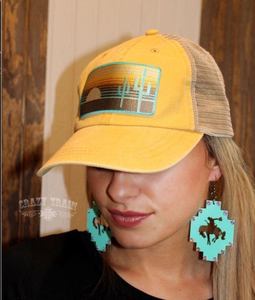 cd36576987 YELLOW Western Trucker Baseball Cactus Cap Desert Sunset Rodeo Adjustable  Hat   eBay