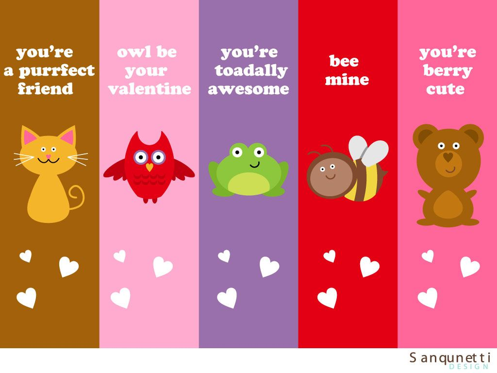 valentine bookmarks to color : Animal Valentine Cute Bookmarks Color Block