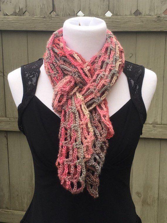 Multi Color Knit Scarf, Pink Handmade Crochet Scarf, Open ...