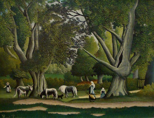 Henri Rousseau: Landscape with milkmaids (1906)