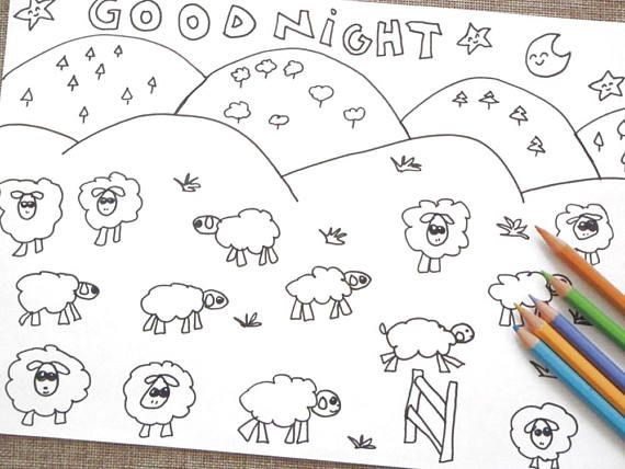 Count The Sheep Kawaii Coloring Goodnight Kids Adult Instant